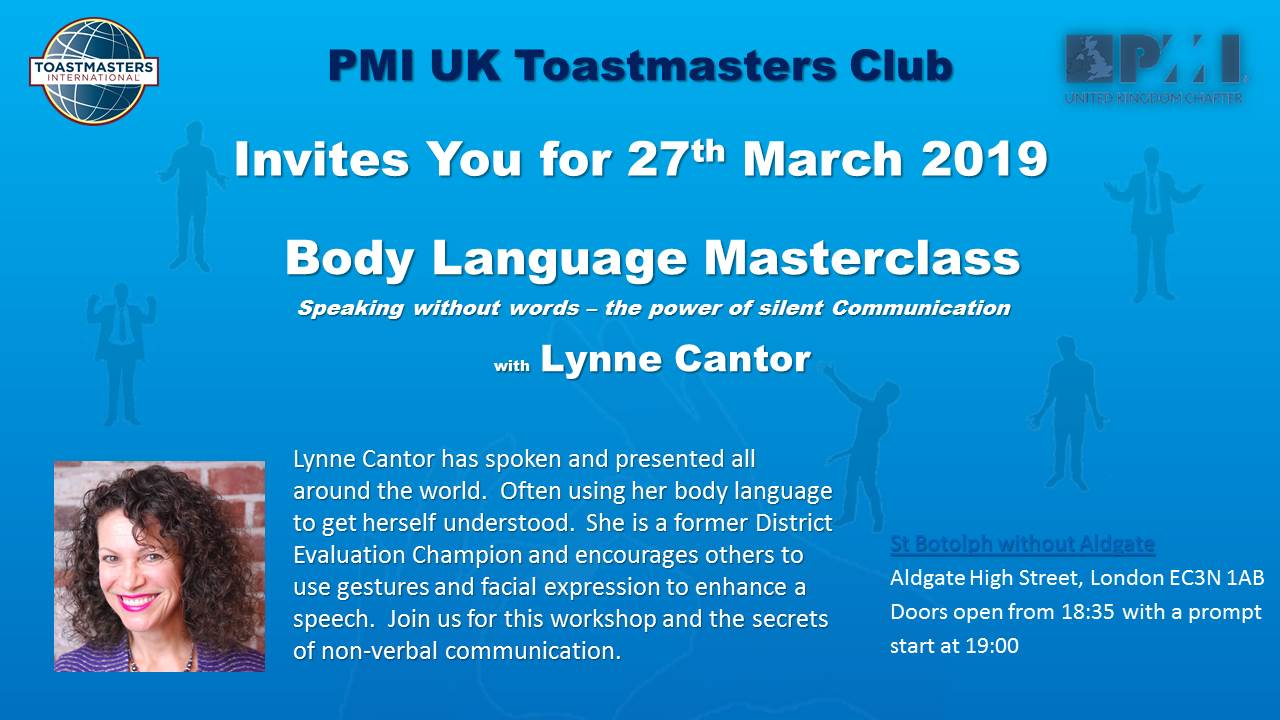 Body Language Flyer Toastmasters 27th March 2019